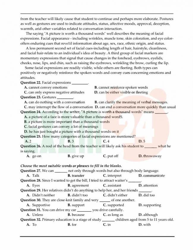 Đề thi thử môn Anh thptqg năm 2018 trường THPT Hoa Lư Ninh Bình trang 3
