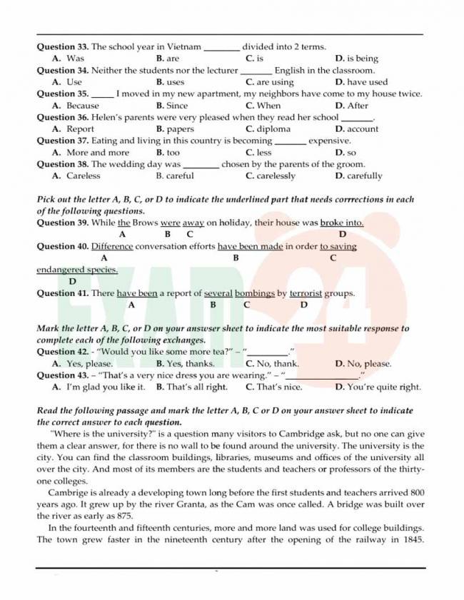 Đề thi thử môn Anh thptqg năm 2018 trường THPT Hoa Lư Ninh Bình trang 4