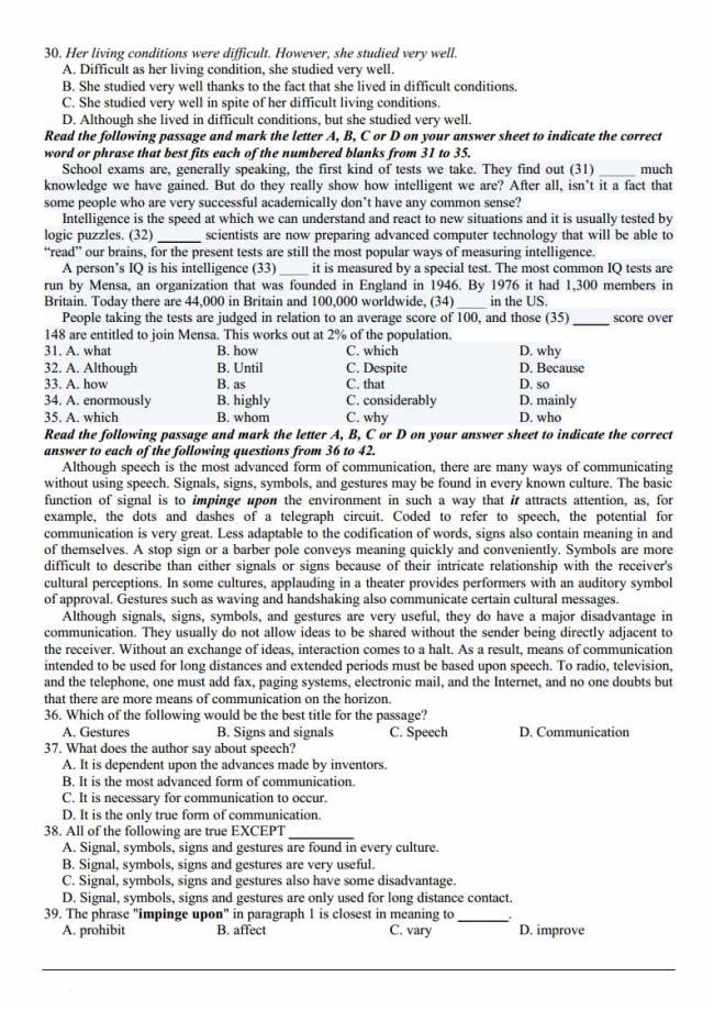 Đề thi thử môn Anh thptqg năm 2018 trường THPT Lộc Phát Lâm Đồng trang 3