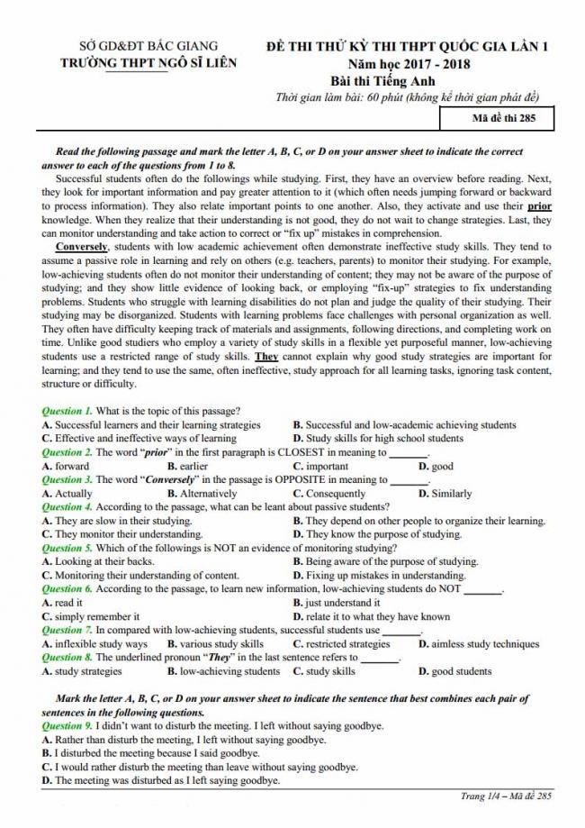 Đề thi thử môn Anh thptqg năm 2018 trường THPT Ngô Sĩ Liên - Bắc Giang trang 1