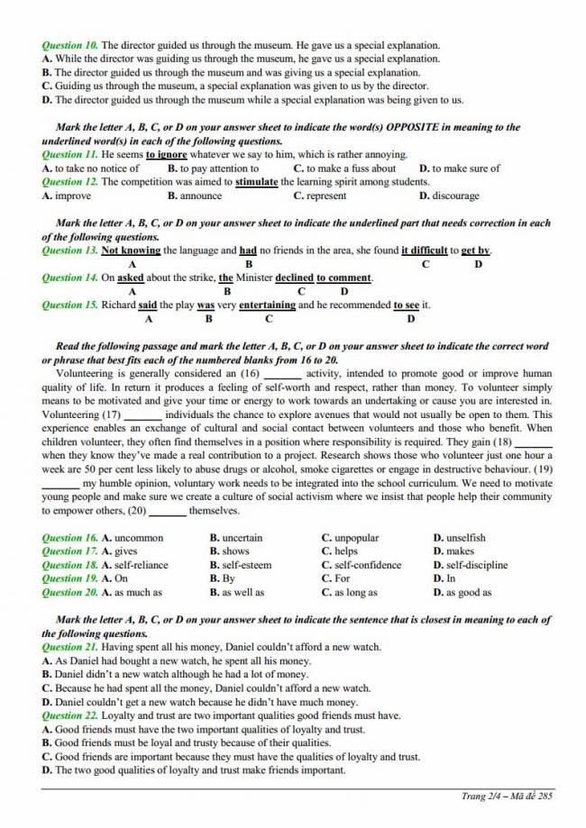 Đề thi thử môn Anh thptqg năm 2018 trường THPT Ngô Sĩ Liên - Bắc Giang trang 2