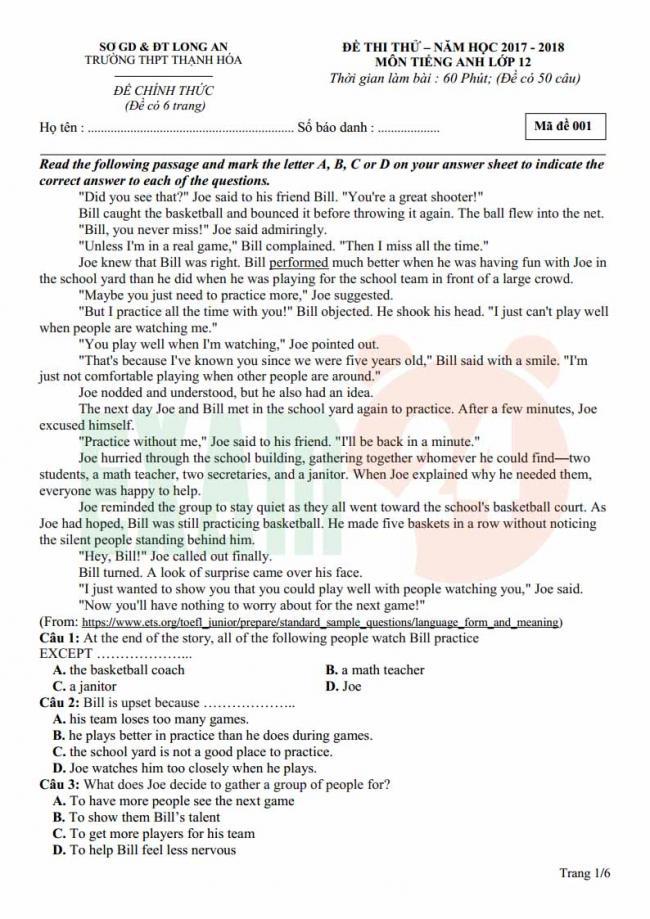 Đề thi thử môn Anh thptqg năm 2018 trường THPT Thạch Hóa Long An trang 1