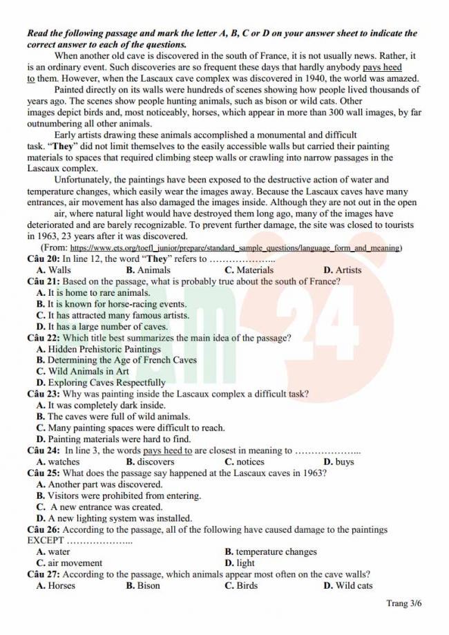 Đề thi thử môn Anh thptqg năm 2018 trường THPT Thạch Hóa Long An trang 3