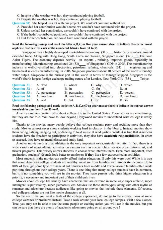 Đề thi thử môn Anh thptqg năm 2018 trường THPT Toàn Thắng Hải Phòng trang 3