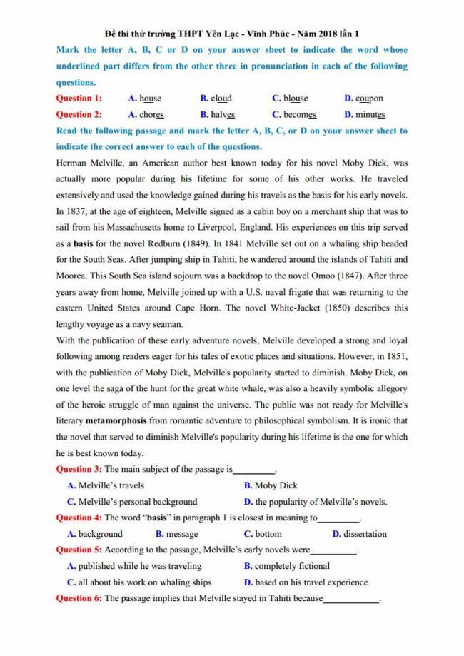 Đề thi thử môn Anh thptqg năm 2018 trường THPT Yên Lạc Vĩnh Phúc trang 1