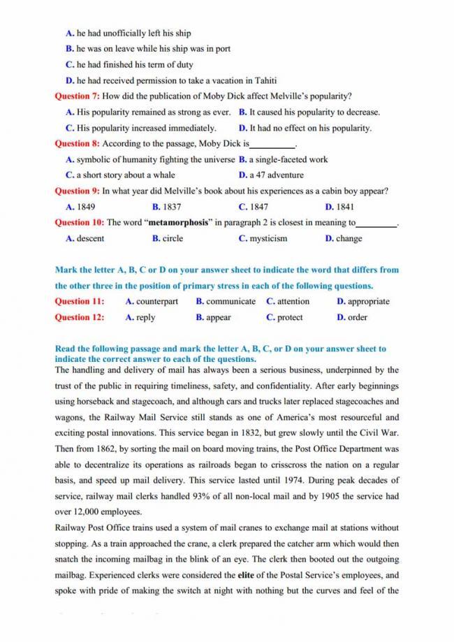 Đề thi thử môn Anh thptqg năm 2018 trường THPT Yên Lạc Vĩnh Phúc trang 2