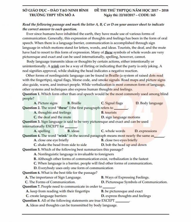 Đề thi thử môn Anh thptqg năm 2018 trường THPT Yên Mô Ninh Bình trang 1