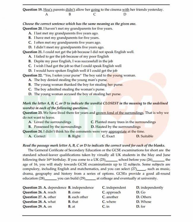 Đề thi thử môn Anh thptqg năm 2018 trường THPT Yên Mô Ninh Bình trang 3