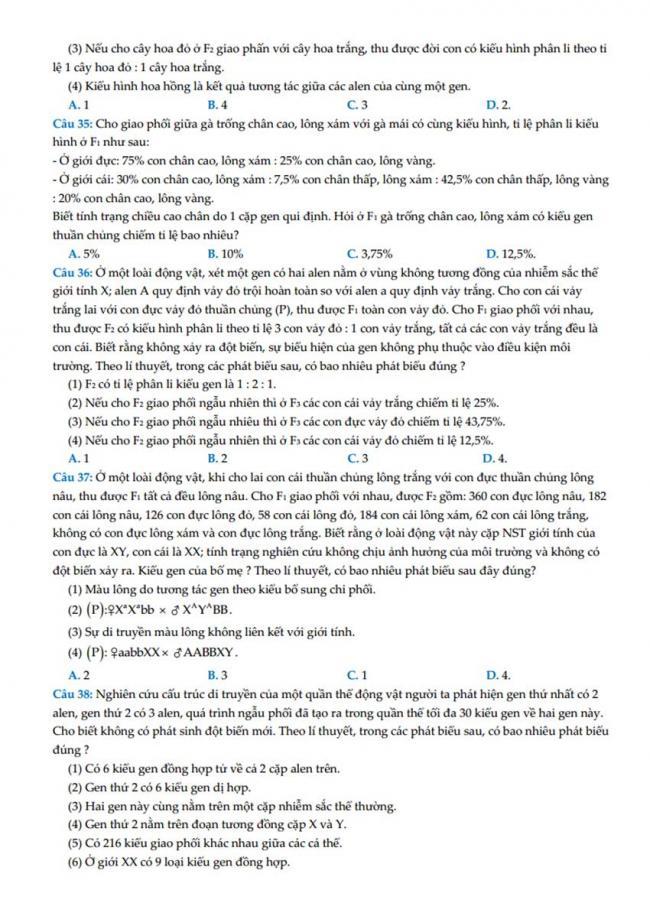 Đề thi thử môn Sinh thptqg năm 2018 trường Chuyên Hùng Vương – Gia Lai trang 5