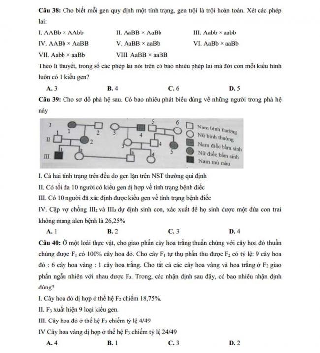 Đề thi thử môn Sinh thptqg năm 2018 trường Chuyên KHTN – Hà Nội trang 7