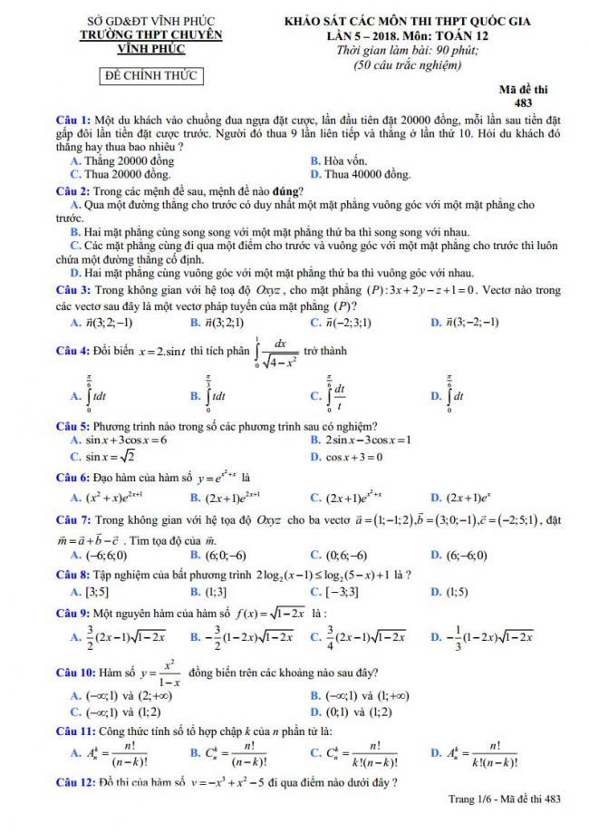 trang 1 đề toán thi thử thpt chuyên vĩnh phúc 2018 lần 5
