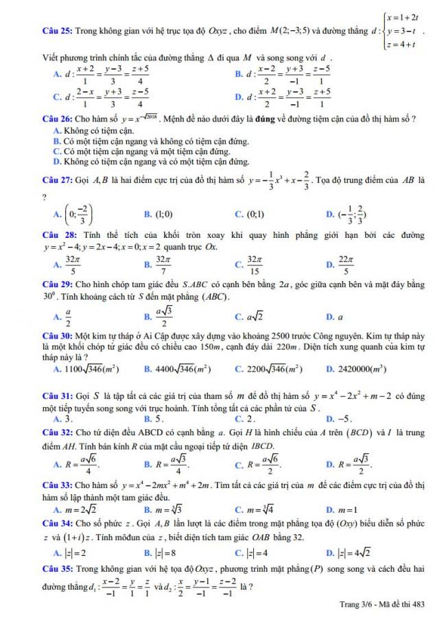 trang 3 đề toán thi thử thpt chuyên vĩnh phúc 2018 lần 5