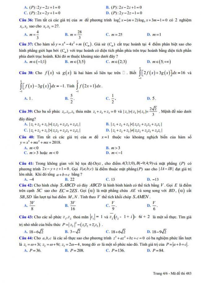 trang 4 đề toán thi thử thpt chuyên vĩnh phúc 2018 lần 5