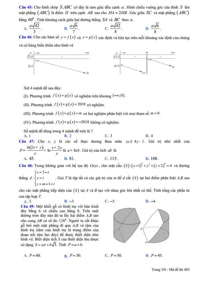 trang 5 đề toán thi thử thpt chuyên vĩnh phúc 2018 lần 5