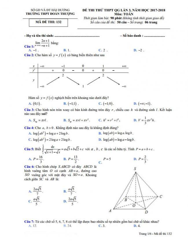 trang 1 đề toán thi thử thpt đoàn thượng 2018