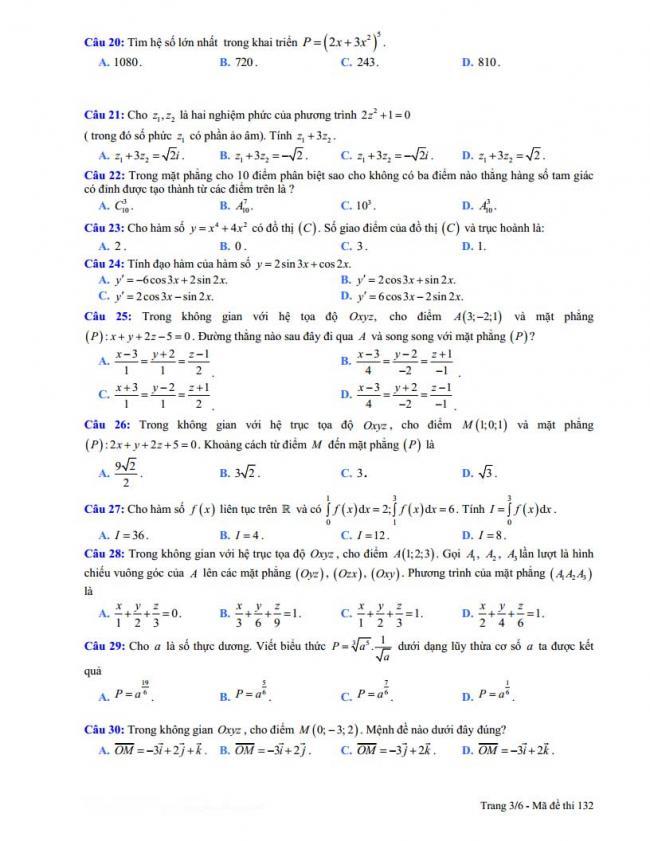 trang 3 đề toán thi thử thpt đoàn thượng 2018