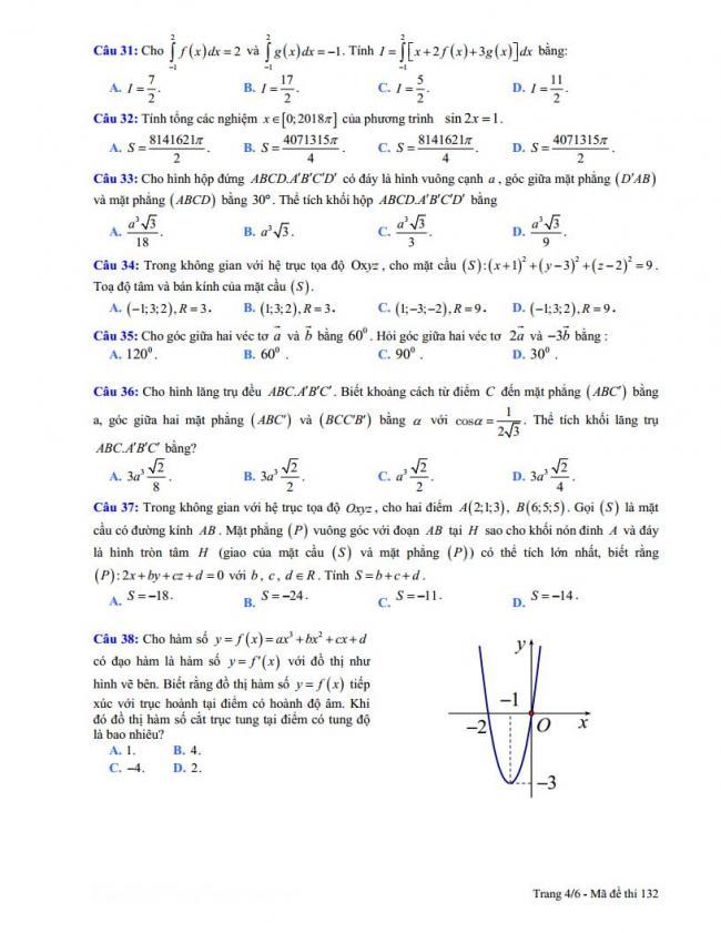 trang 4 đề toán thi thử thpt đoàn thượng 2018