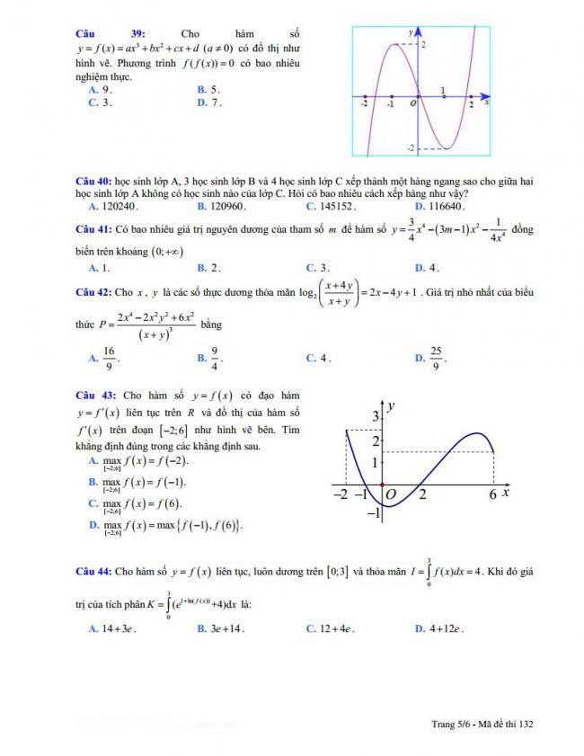 trang 5 đề toán thi thử thpt đoàn thượng 2018