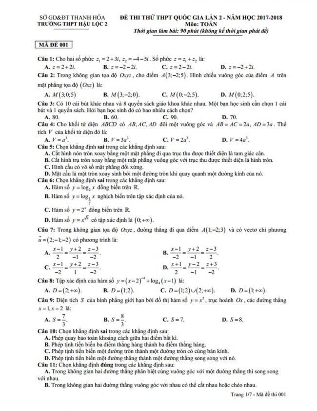 Đề thi thử môn Toán thptqg năm 2018 trường Hậu Lộc 2 - Thanh Hóa lần 2 trang 1