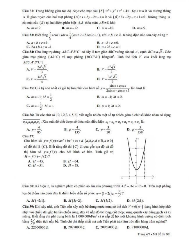 Đề thi thử môn Toán thptqg năm 2018 trường Hậu Lộc 2 - Thanh Hóa lần 2 trang 4