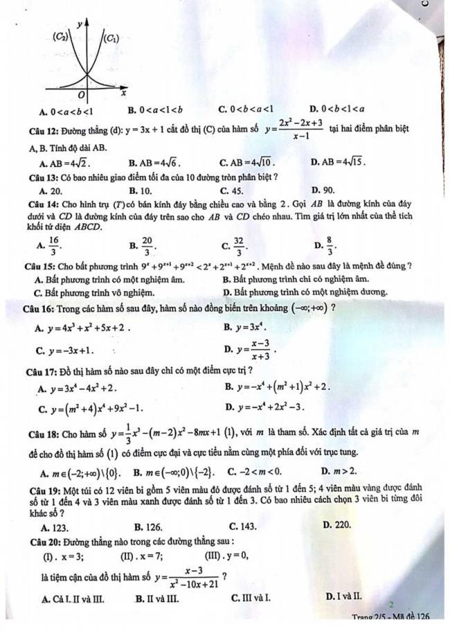 Đề thi thử môn Toán thptqg năm 2018 trường Phan Châu Trinh - Đà Nẵng lần 1 trang 2