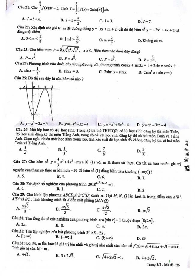 Đề thi thử môn Toán thptqg năm 2018 trường Phan Châu Trinh - Đà Nẵng lần 1 trang 3