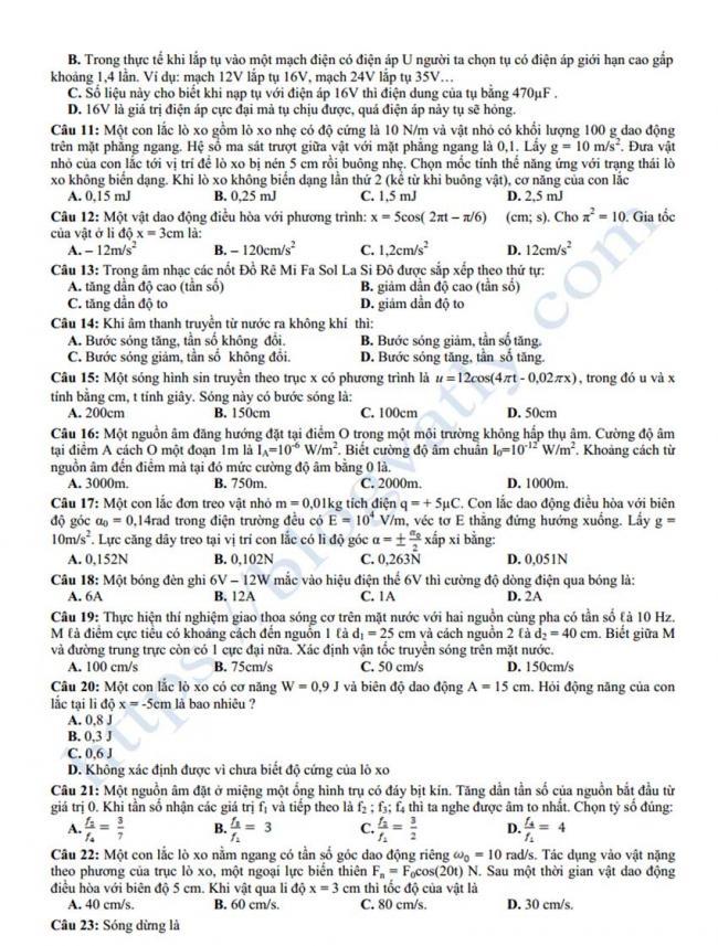 Đề thi thử môn Lý thptqg năm 2018 trường Yên Lạc – Vĩnh Phúc 1