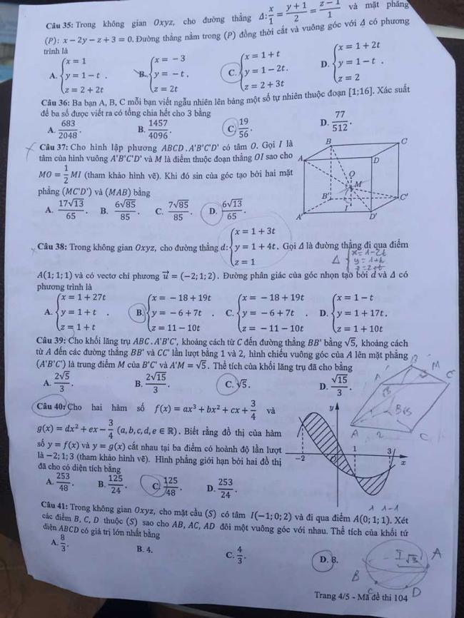 trang 4 đề toán mã 104 THPTQG năm 2018