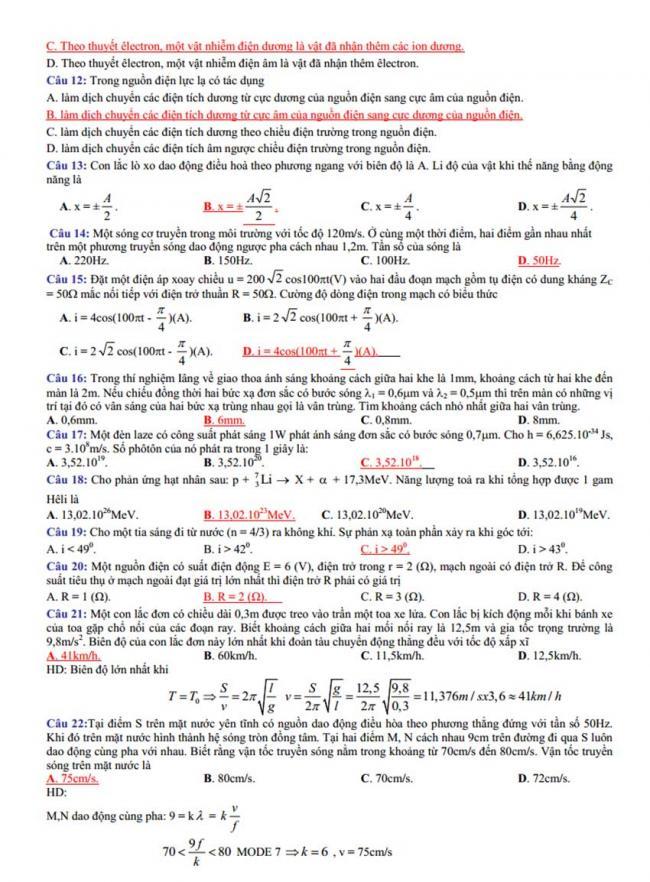 Đáp án Đề thi thử môn Lý thptqg năm 2018 trường số 3 An Nhơn – Bình Định 1