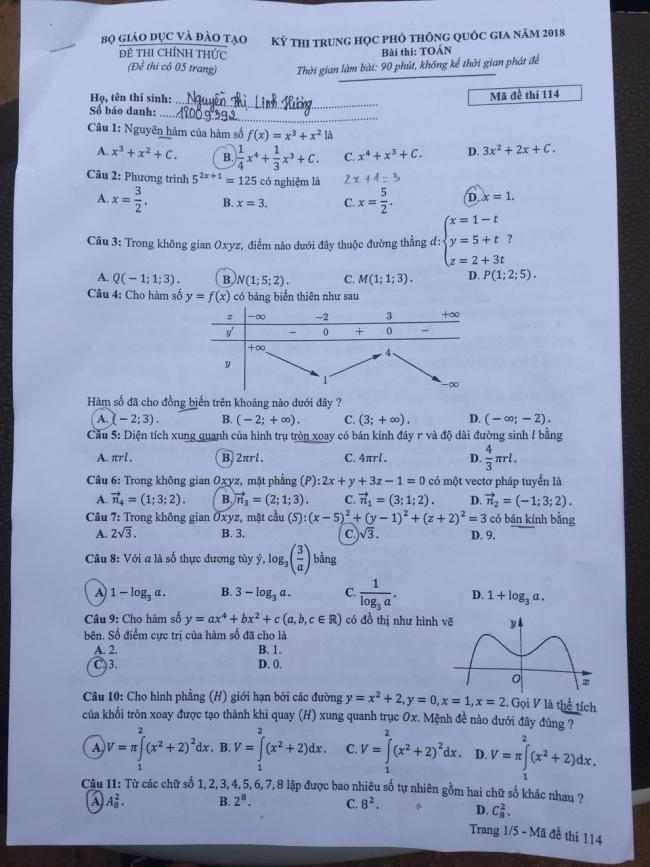 trang 1 đề toán thi thptqg 2018 mã 114