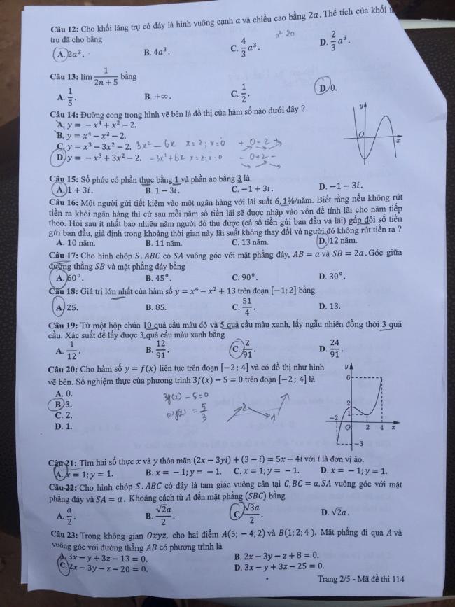 trang 2 đề toán thi thptqg 2018 mã 114