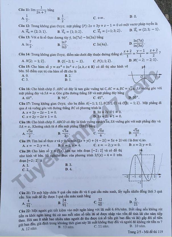 đề toán mã 119 thi thpt quốc gia 2018 trang 2