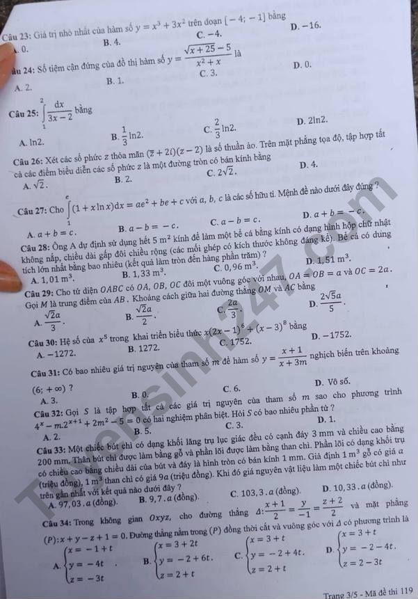 đề toán mã 119 thi thpt quốc gia 2018 trang 3