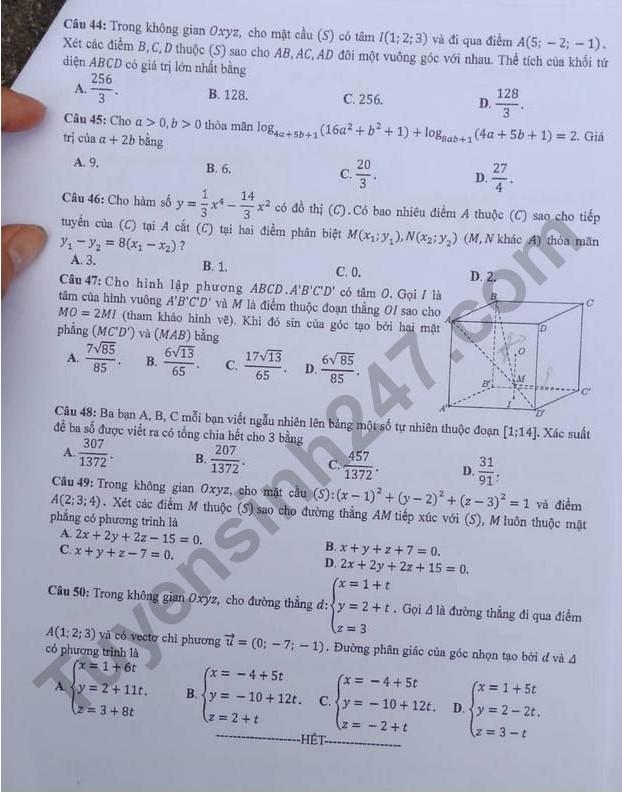 đề toán mã 119 thi thpt quốc gia 2018 trang 5