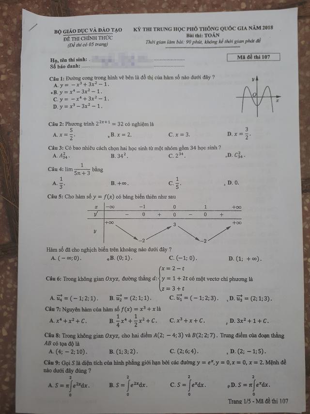đề toán mã 107 THPTQG năm 2018 trang 1