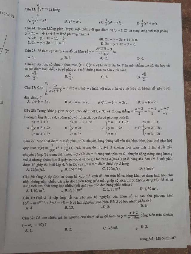 đề toán mã 107 THPTQG năm 2018 trang 3
