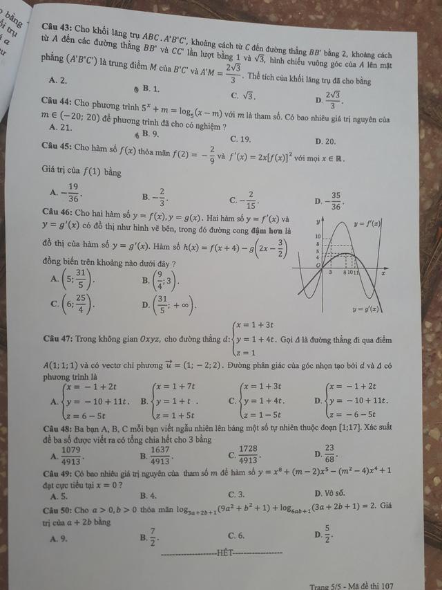 đề toán mã 107 THPTQG năm 2018 trang 5