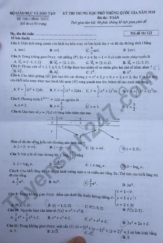 trang 1 đề toán mã 122 thi THPTQG 2018