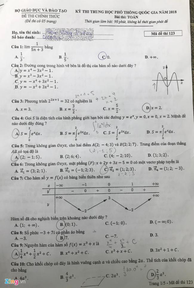 trang 1 mã 123 đề toán thpt 2018