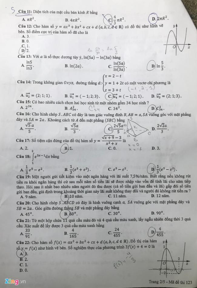 trang 2 mã 123 đề toán thpt 2018