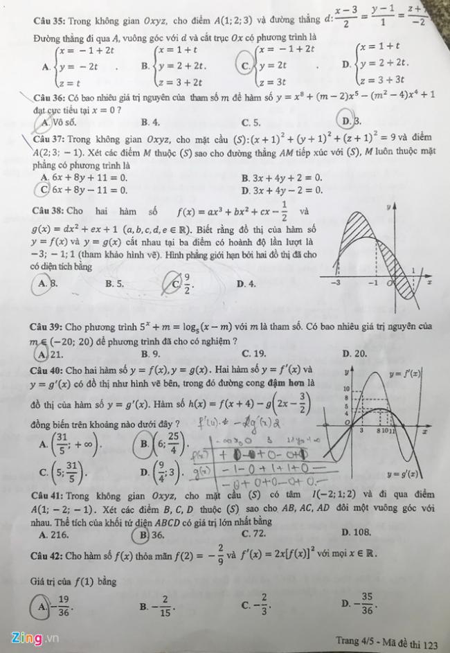trang 4 mã 123 đề toán thpt 2018