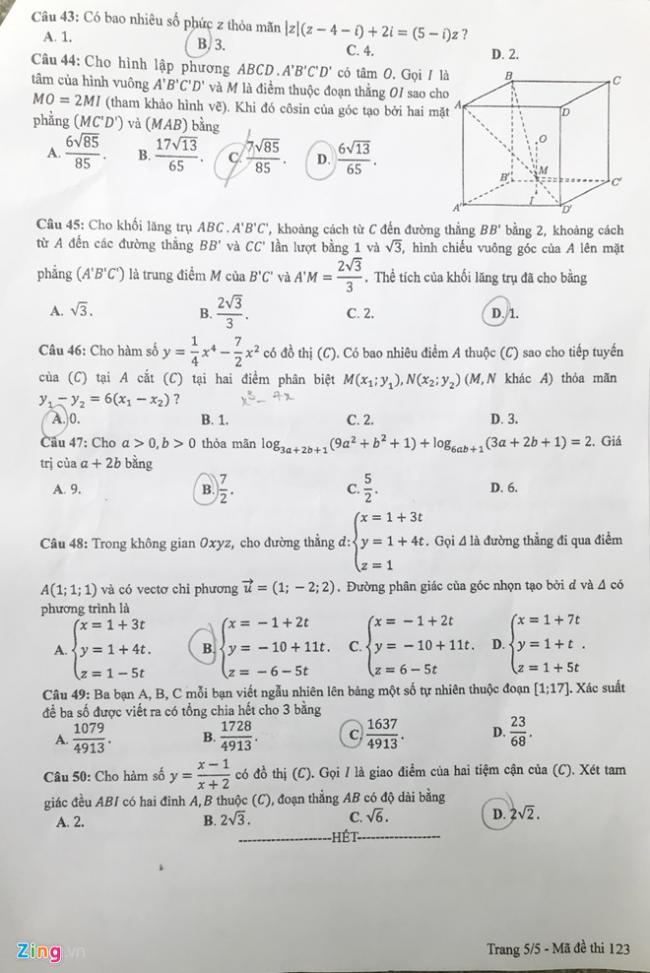 trang 5 mã 123 đề toán thpt 2018