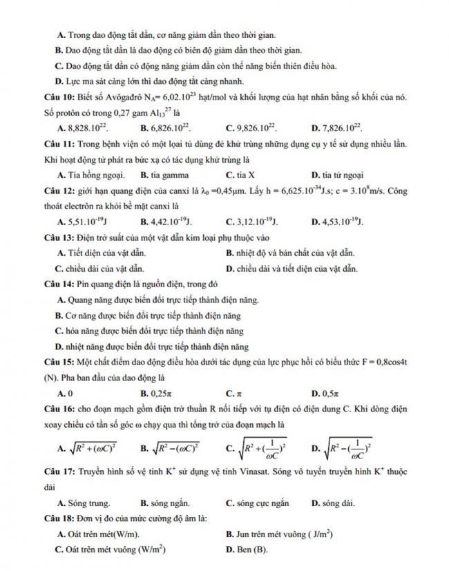Đề thi thử môn Lý thptqg năm 2018 trường Chu Văn An 1