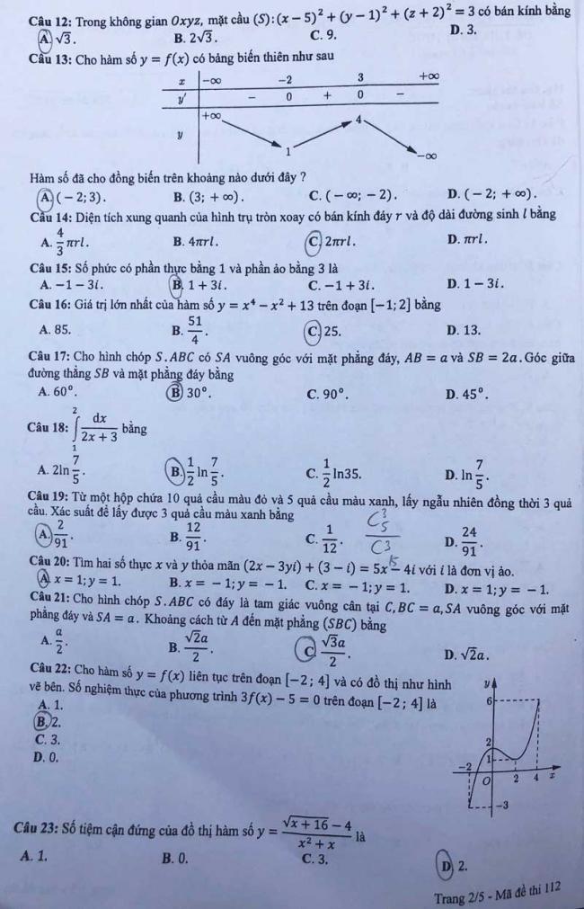 trang 2 mã đề 112 môn toán thpt 2018