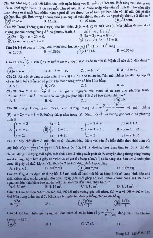 trang 3 mã đề 112 môn toán thpt 2018