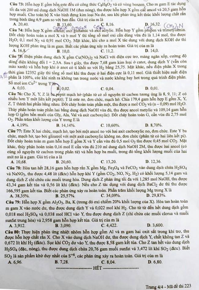 trang 4 đề thi hóa thptqg 2018 mã đề 223