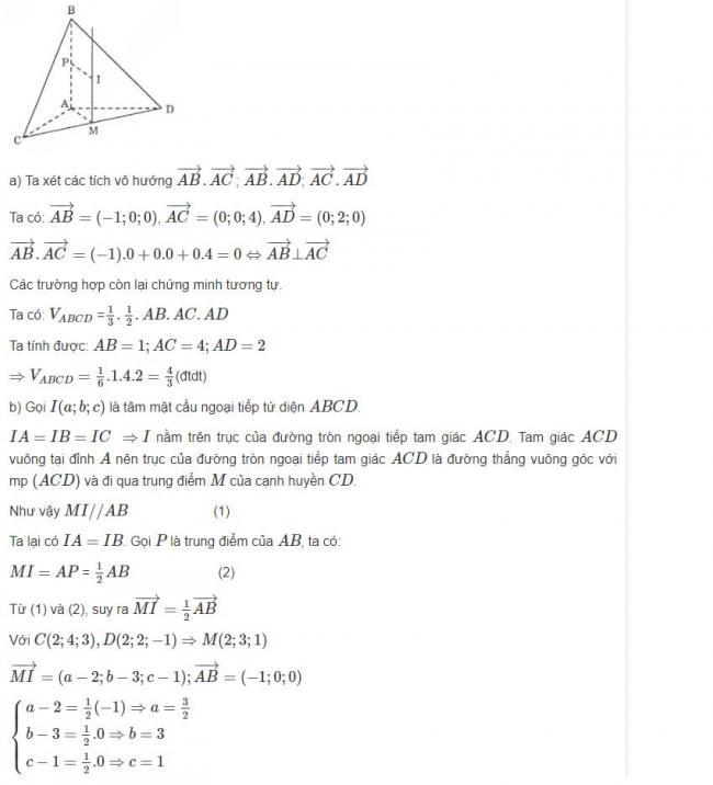 Đáp án bài 9 trang 100 sgk hình học lớp 12 phần 1
