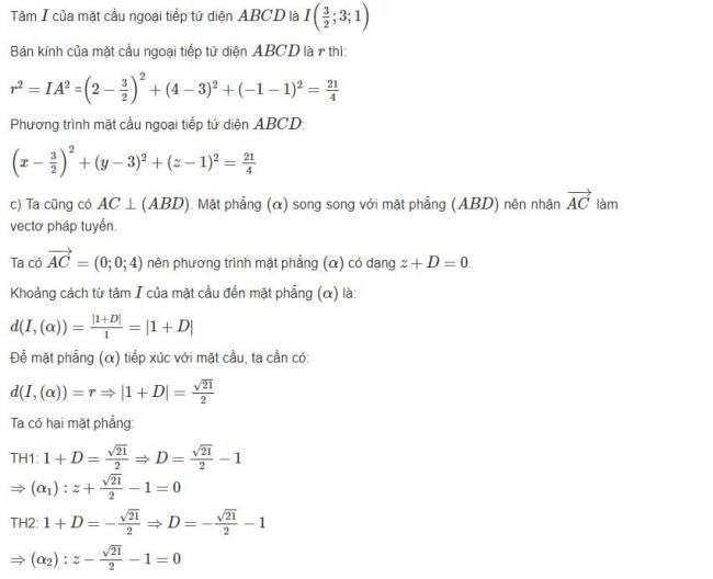 Đáp án bài 9 trang 100 sgk hình học lớp 12 phần 2