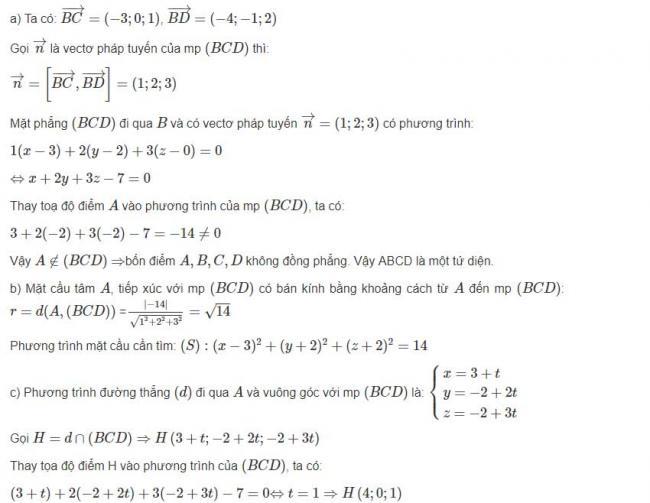 Đáp án bài 12 trang 101 sgk hình học lớp 12