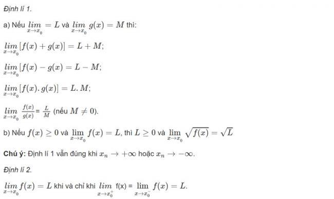 Lý thuyết Định lí về giới hạn hữu hạn